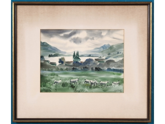 Framed watercolor by mariano ortuzar chili 20th century for Brownstone liquidators