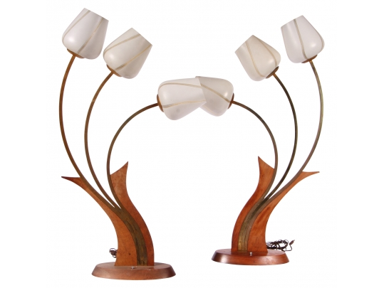Pair mid century large tulip form lamps 1 black rock for Brownstone liquidators