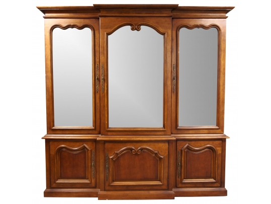 A most impressive solid cherry breakfront by century with for Brownstone liquidators