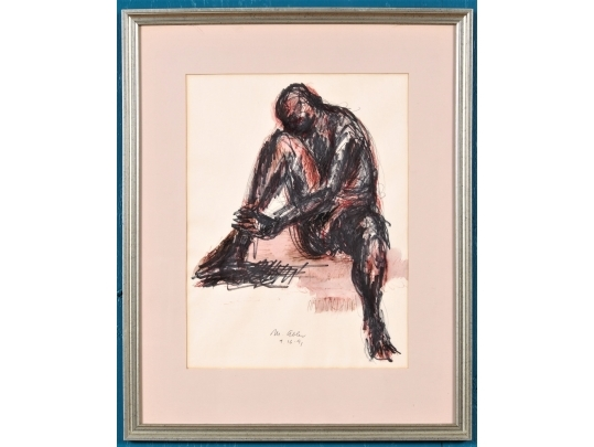 Framed watercolor and pen figural drawing by morton abler for Brownstone liquidators